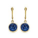 Textured Blue Druzy Leverback Dangle Earrings in Yellow Gold | Thumbnail 01