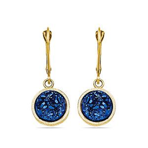 Textured Blue Druzy Leverback Dangle Earrings in Yellow Gold