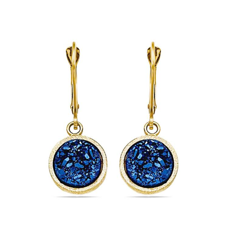 Textured Blue Druzy Leverback Dangle Earrings in Yellow Gold | 01
