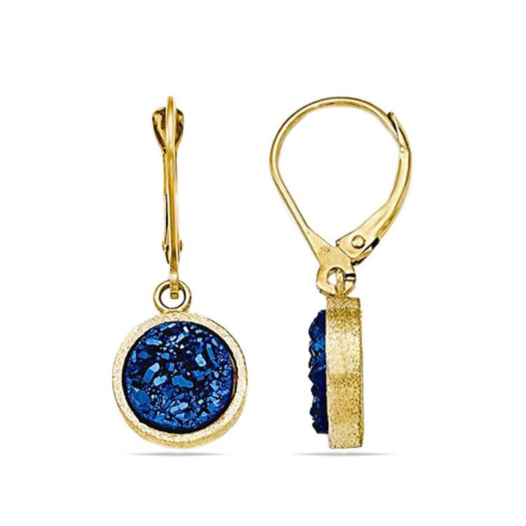 Textured Blue Druzy Leverback Dangle Earrings in Yellow Gold | 02