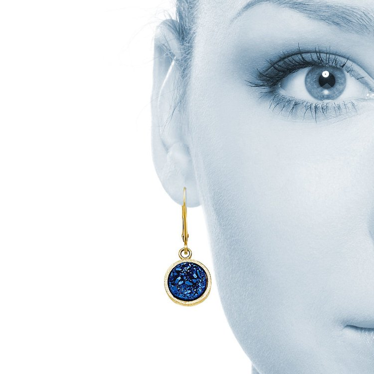Textured Blue Druzy Leverback Dangle Earrings in Yellow Gold | 04