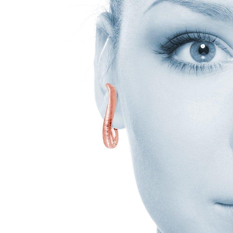 Textured Curved Hoop Earrings in Rose Gold   04