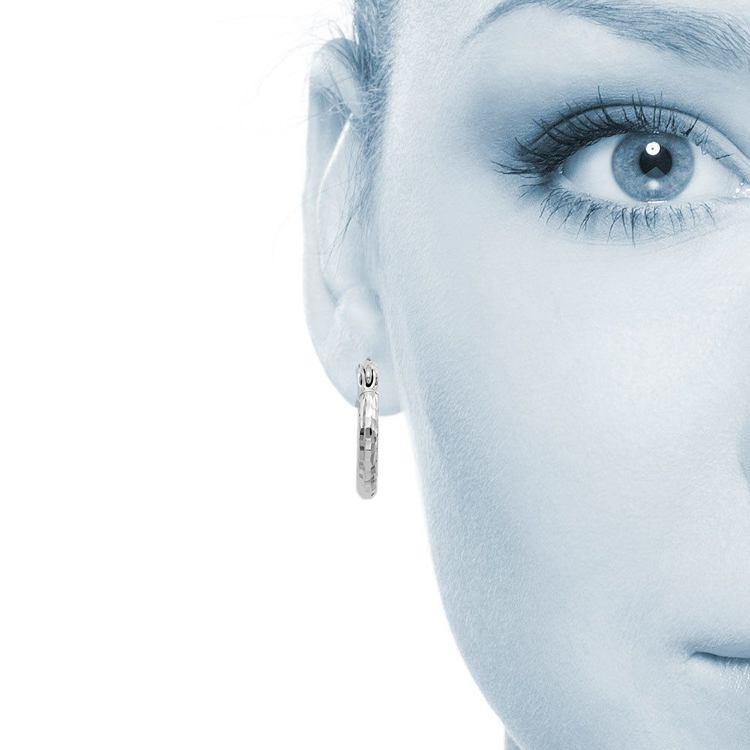 Textured Diamond Cut Hoop Earrings in Silver   04