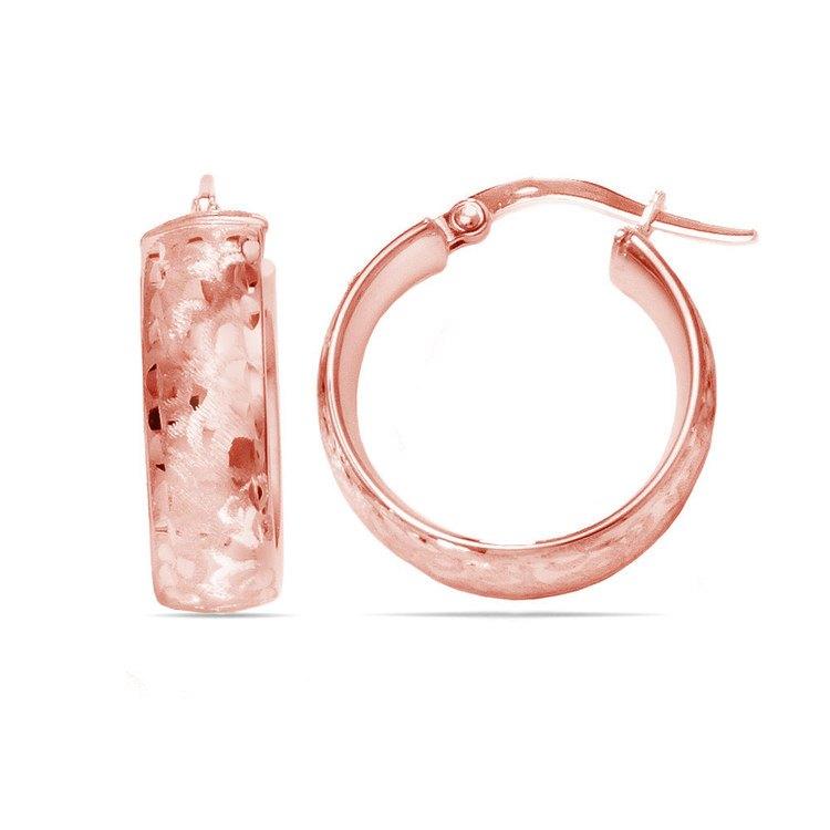 Textured Hoop Earrings in Rose Gold | 01