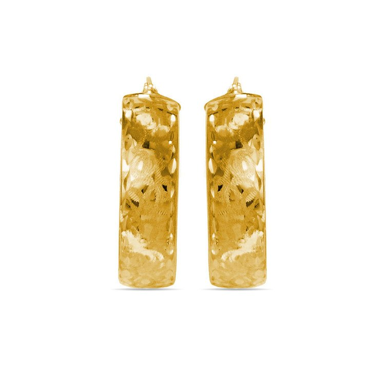 Textured Hoop Earrings in Yellow Gold | 02