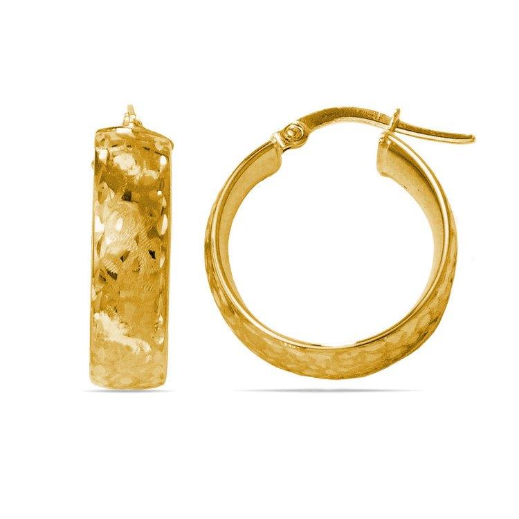 Textured Hoop Earrings in Yellow Gold | 01