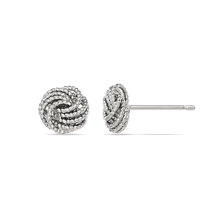 Textured Love Knot Stud Earrings in White Gold | 02