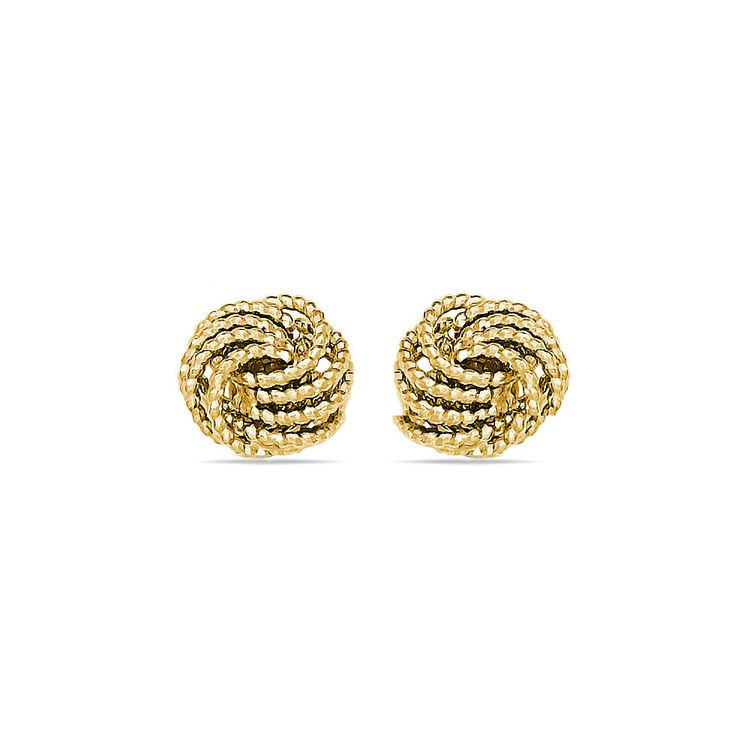 Textured Love Knot Stud Earrings in Yellow Gold | 01