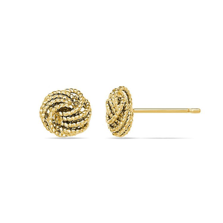 Textured Love Knot Stud Earrings in Yellow Gold | 02