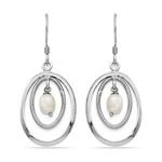 Textured Oval Hoop Pearl Dangle Earrings in Silver | Thumbnail 01