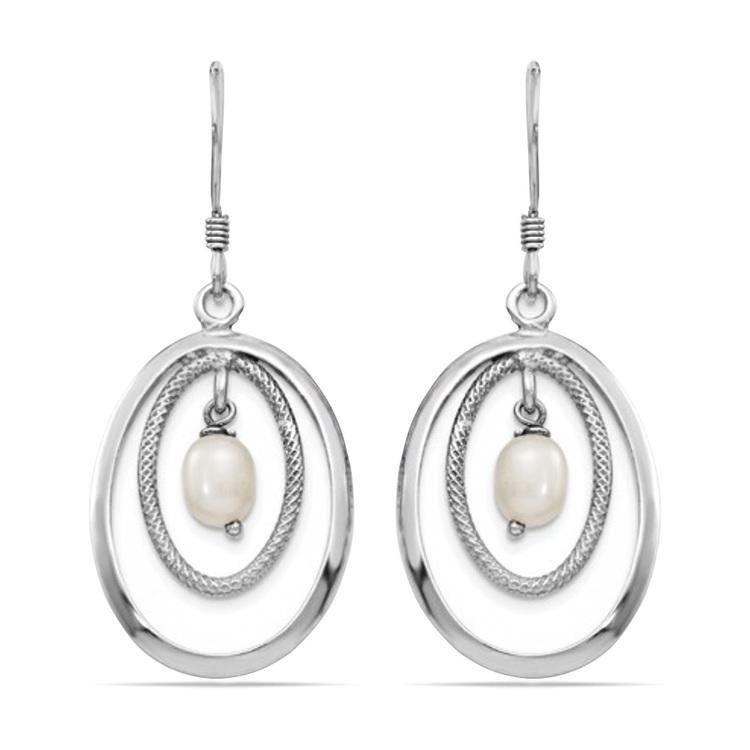 Textured Oval Hoop Pearl Dangle Earrings in Silver | 01