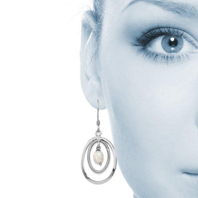 Textured Oval Hoop Pearl Dangle Earrings in Silver | 04