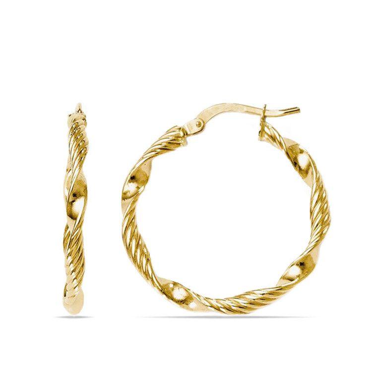 Textured Rope Hoop Earrings in Yellow Gold   01