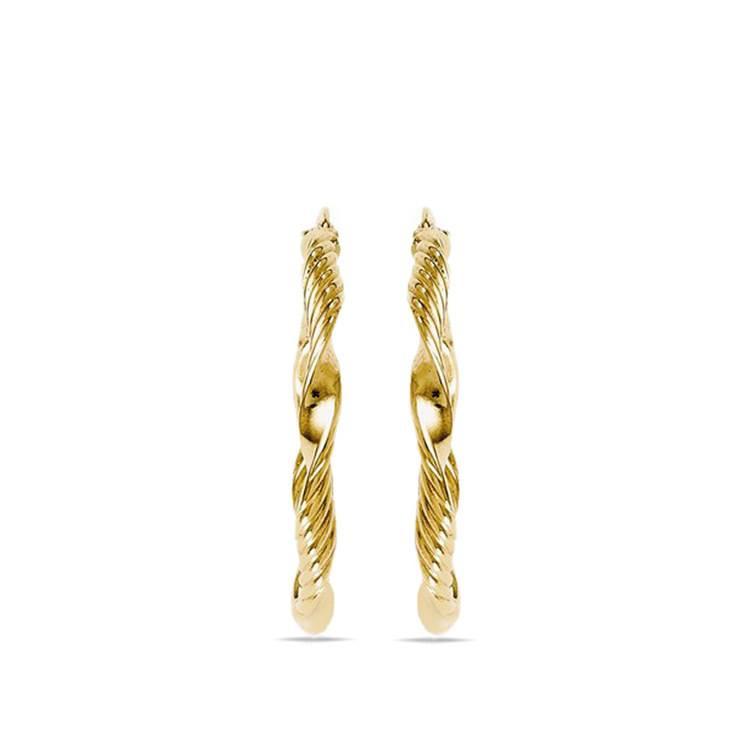 Textured Rope Hoop Earrings in Yellow Gold   02