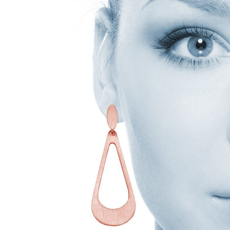 Textured Drop Dangle Earrings with Rose Finish in Silver | 04