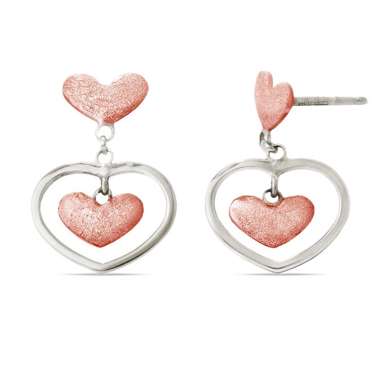 Textured Triple Heart Dangle Earrings with Rose Finish in Silver | 02