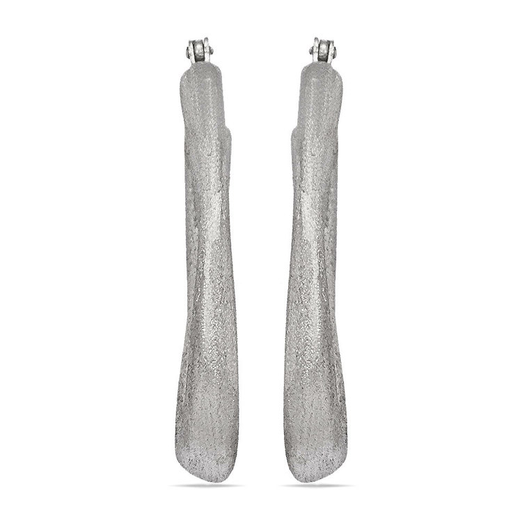Textured Sculptural Oval Hoop Earrings in Silver | 02
