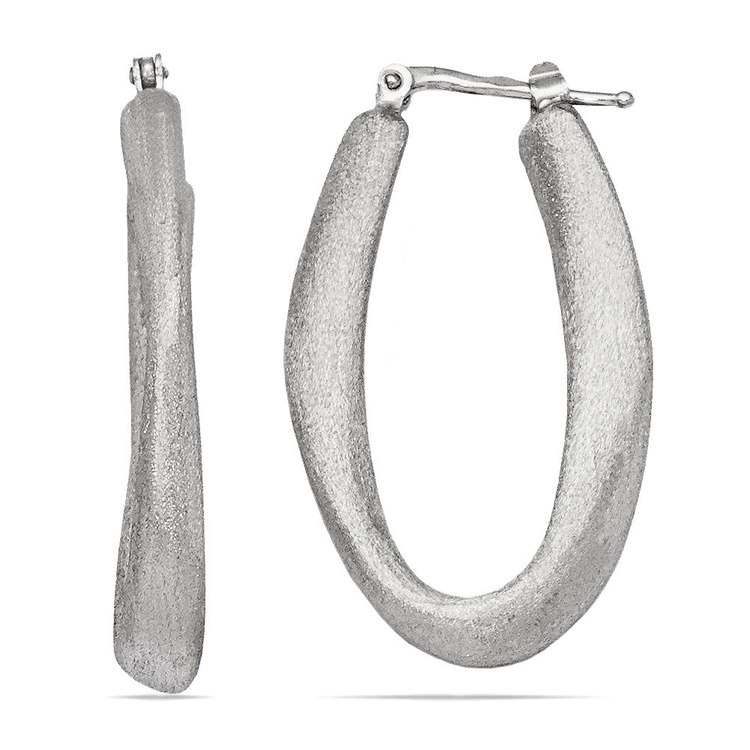 Textured Sculptural Oval Hoop Earrings in Silver | 01