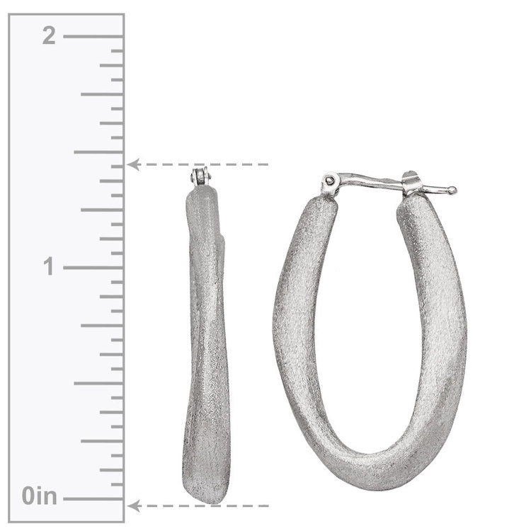 Textured Sculptural Oval Hoop Earrings in Silver | 03