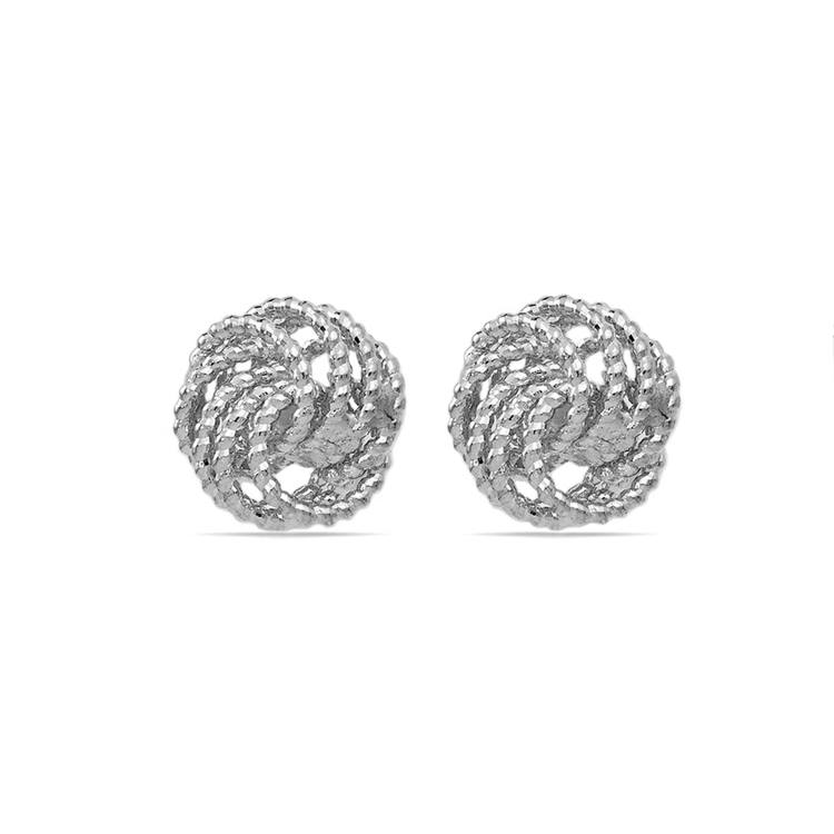 Textured Twist Love Knot Earrings in White Gold | 01