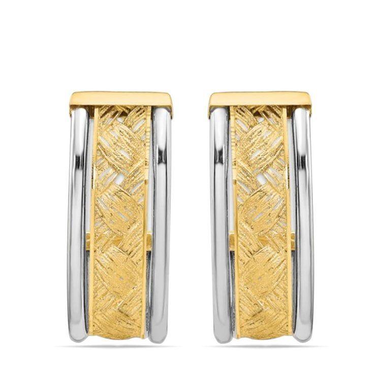 Textured Two-Tone J-Hoop Earrings in 14K Gold | 01