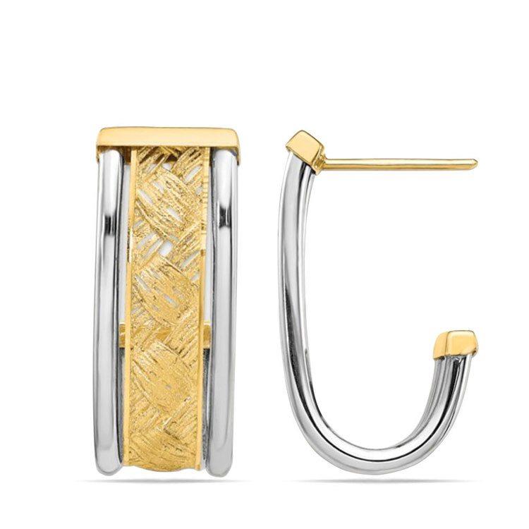 Textured Two-Tone J-Hoop Earrings in 14K Gold | 02