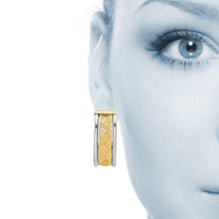 Textured Two-Tone J-Hoop Earrings in 14K Gold | 04