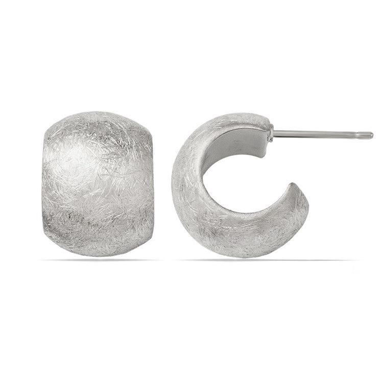 Textured Wide C-Hoop Earrings in Silver | 01
