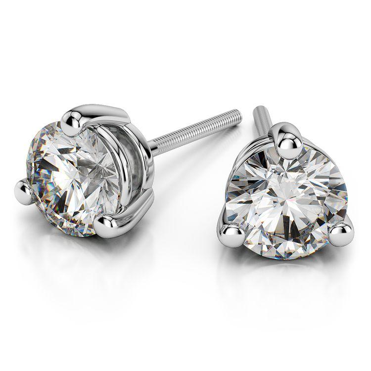 Three Prong Diamond Stud Earrings in Platinum (1 ctw) | 01