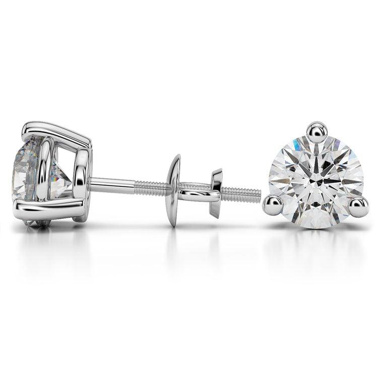Three Prong Diamond Stud Earrings in Platinum (4 ctw) | 03