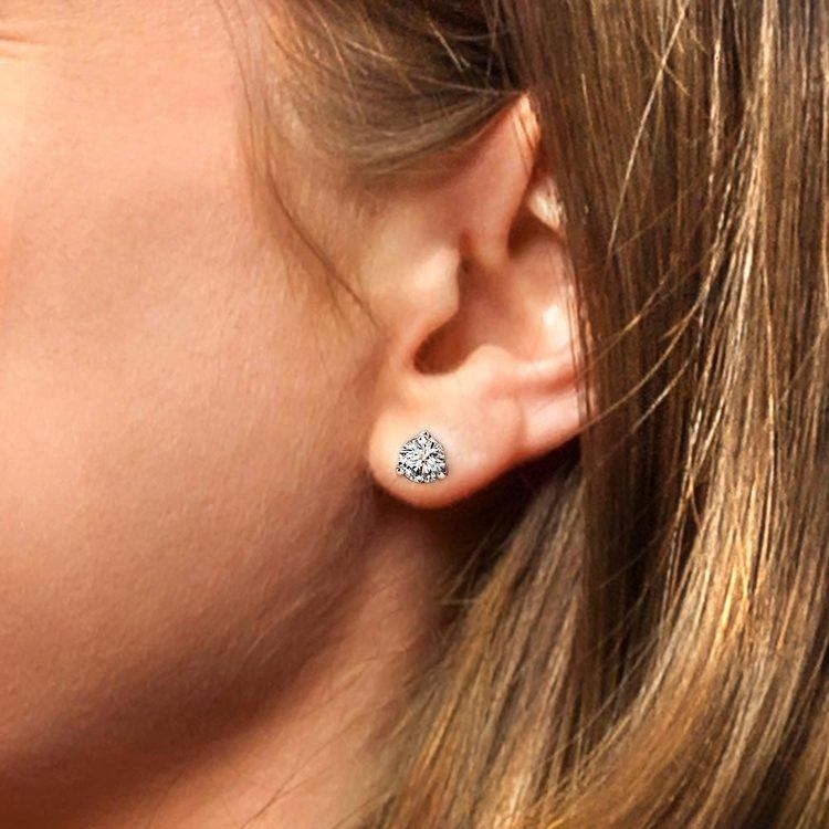 Three Prong Diamond Stud Earrings in White Gold (1 1/2 ctw) | 04