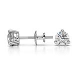 Three Prong Diamond Stud Earrings in White Gold (1/2 ctw) | Thumbnail 01
