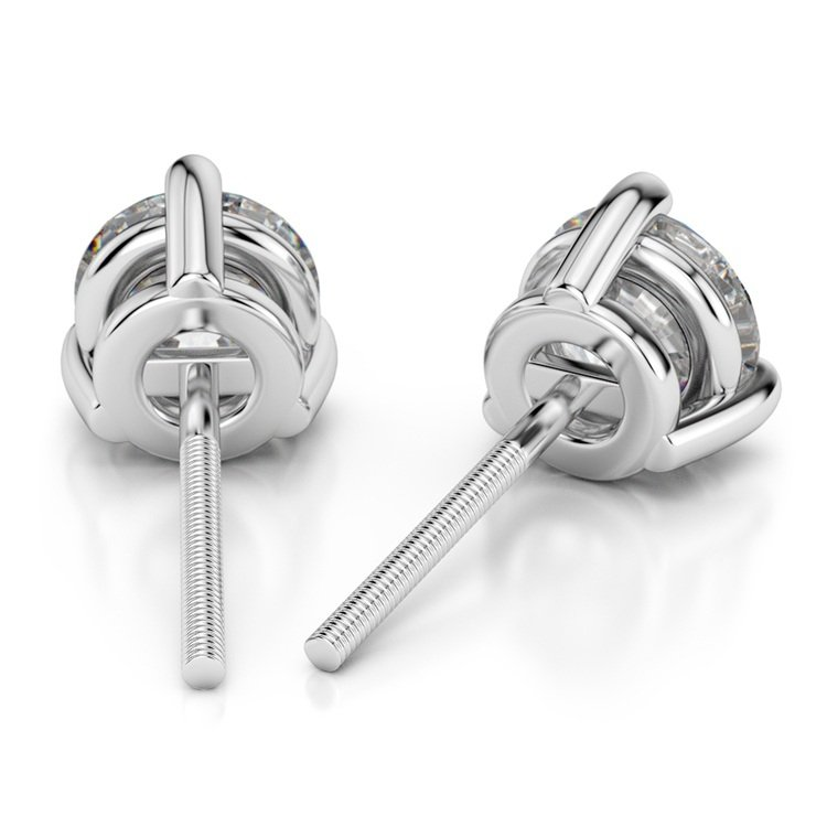 Three Prong Diamond Stud Earrings in White Gold (1/4 ctw) | 02