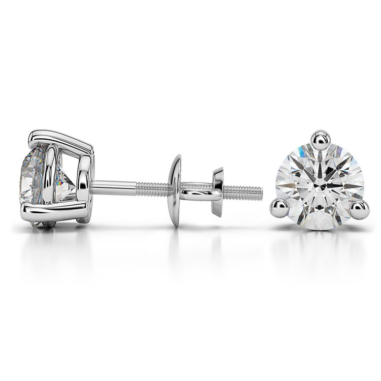 Three Prong Diamond Stud Earrings in White Gold (2 ctw) | 03