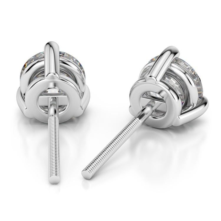 Three Prong Diamond Stud Earrings in White Gold (3 ctw) | 02