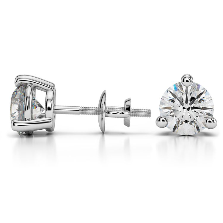 Three Prong Diamond Stud Earrings in White Gold (3 ctw) | 03