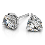 Three Prong Diamond Stud Earrings in White Gold (4 ctw) | Thumbnail 01