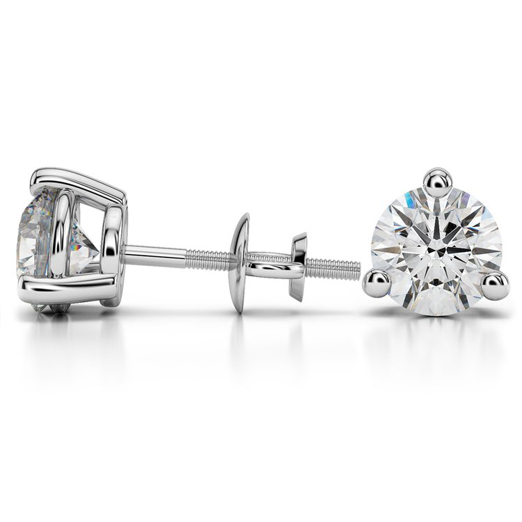 Three Prong Diamond Stud Earrings in White Gold (4 ctw) | 03