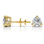 Three Prong Diamond Stud Earrings in Yellow Gold (1 1/2 ctw) | Thumbnail 01