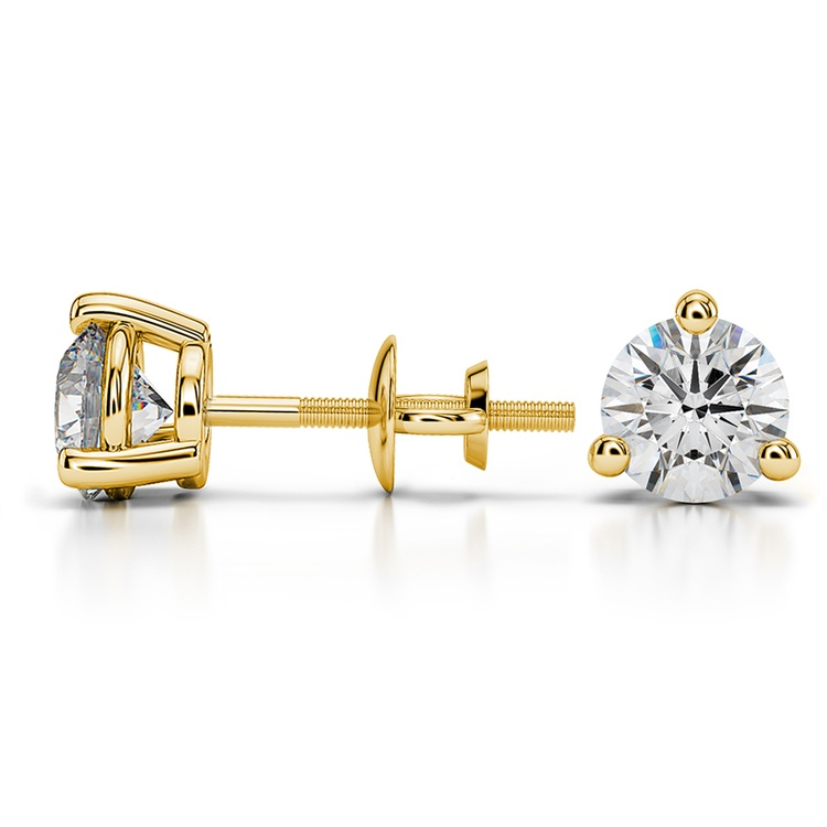 Three Prong Diamond Stud Earrings in Yellow Gold (1 1/2 ctw) | 03