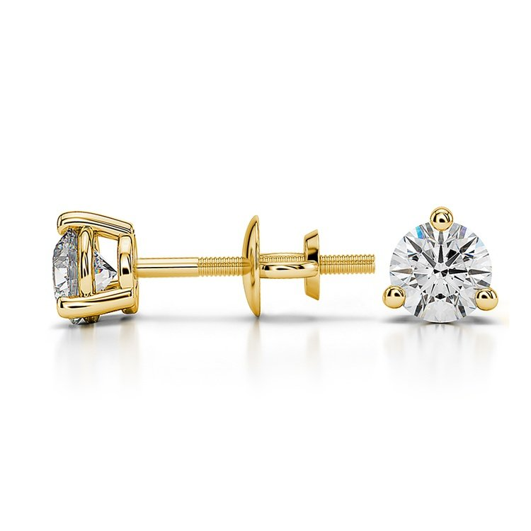 Three Prong Diamond Stud Earrings in Yellow Gold (1/2 ctw) | 03