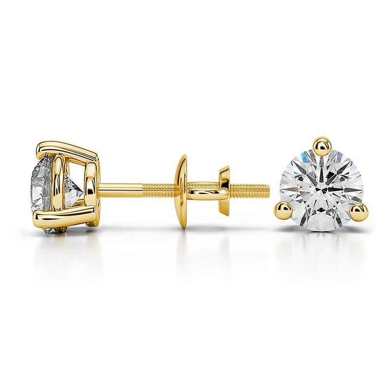 Three Prong Diamond Stud Earrings in Yellow Gold (1 ctw) | 03