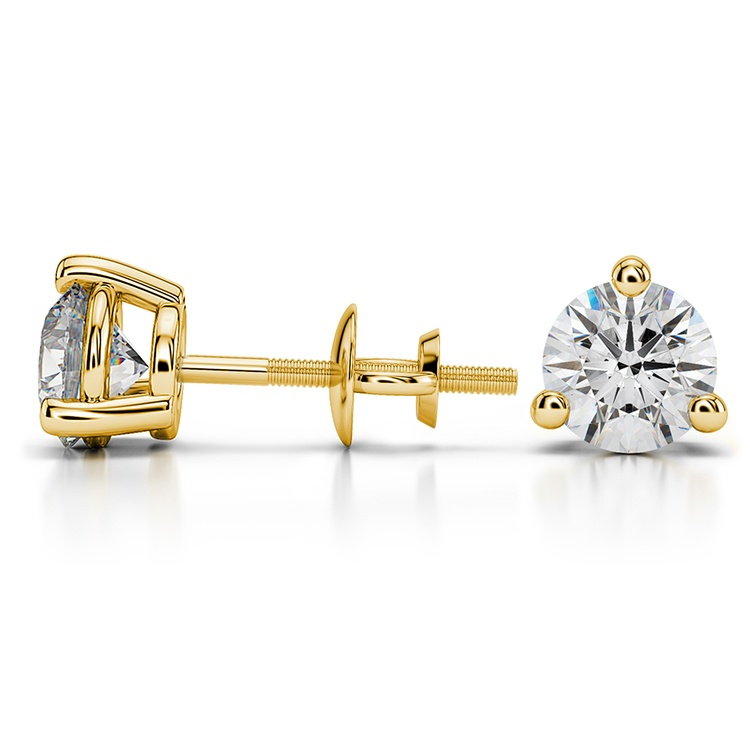 Three Prong Diamond Stud Earrings in Yellow Gold (2 ctw) | 03