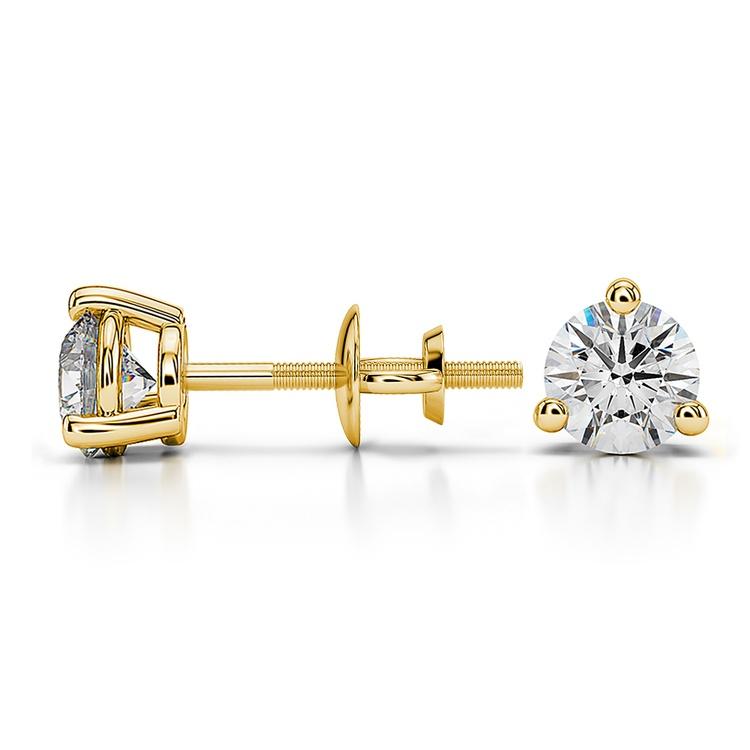 Three Prong Diamond Stud Earrings in Yellow Gold (3/4 ctw) | 03