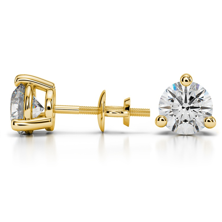 Three Prong Diamond Stud Earrings in Yellow Gold (3 ctw) | 03