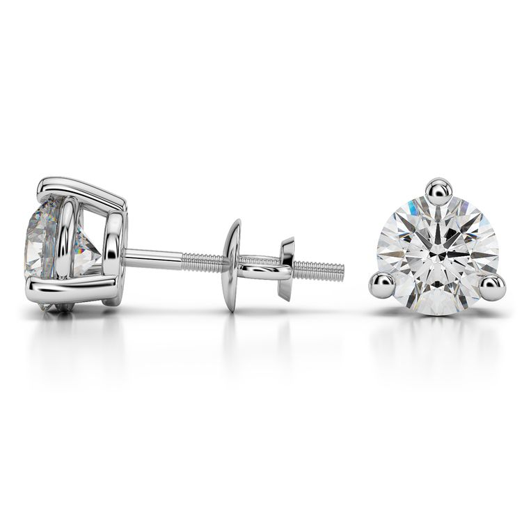 Three Prong Earring Settings in White Gold | 03