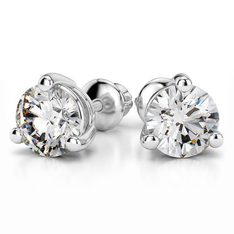 Three Prong Earring Settings in White Gold | 04