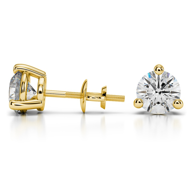 Three Prong Earring Settings in Yellow Gold | 03