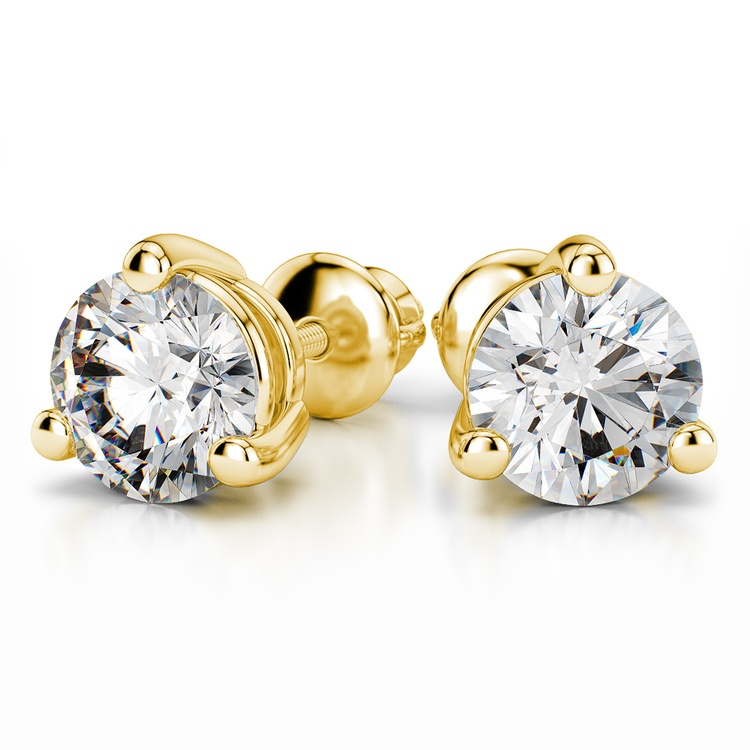 Three Prong Earring Settings in Yellow Gold | 04