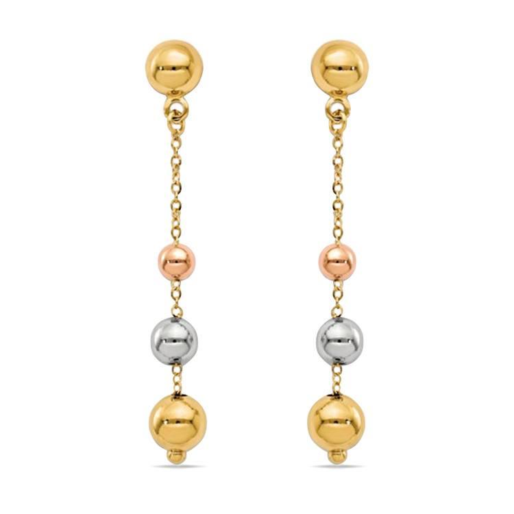 Tri-Color Diamond Cut Dangle Earrings in 14K Gold | 01